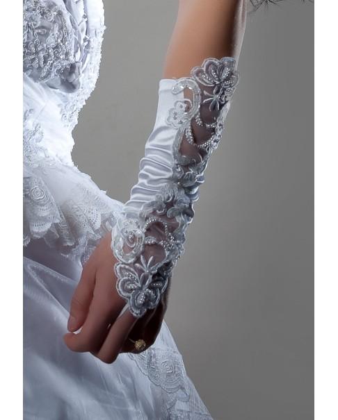 Svadobné rukavice saténové s čipkou