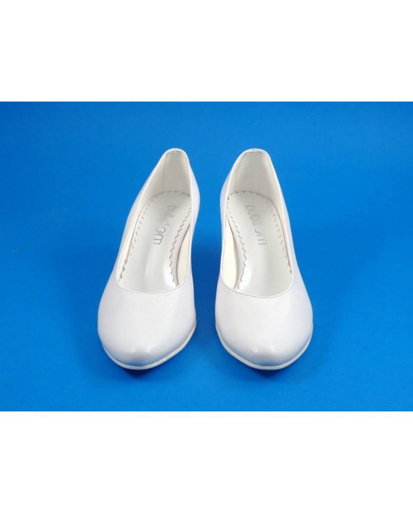 204655006665 hladke biele svadobne lodicky na nizkom podpatku 5 cm