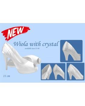 Svadobné topánky Wiola s kryštálikmi